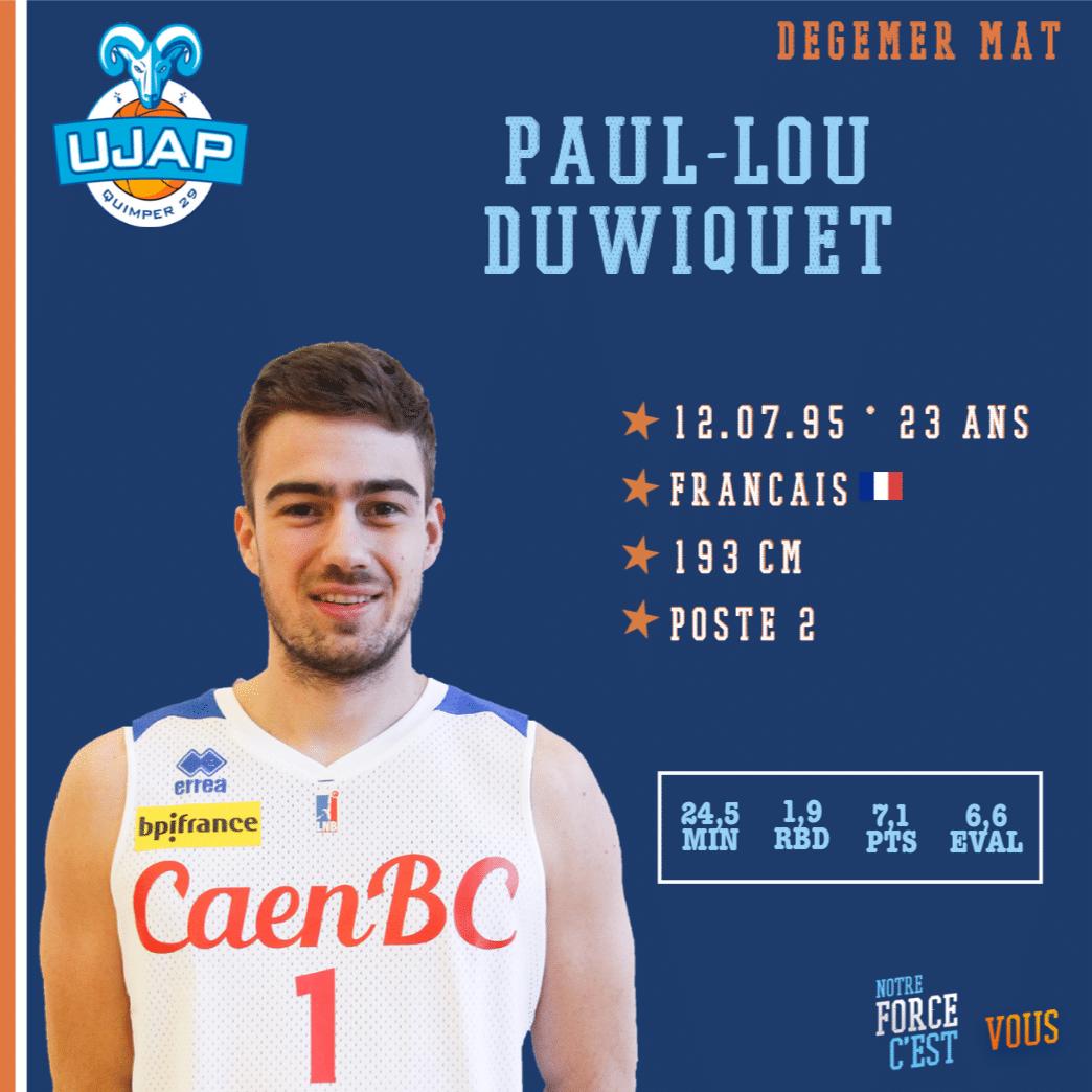 Pro B: Paul-Lou Duwiquet de retour à Quimper