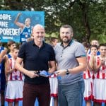 Le coach de Monaco Sasa Obradovic inaugure un terrain de basket à son nom